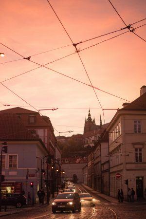 Prague nightfall dimlights